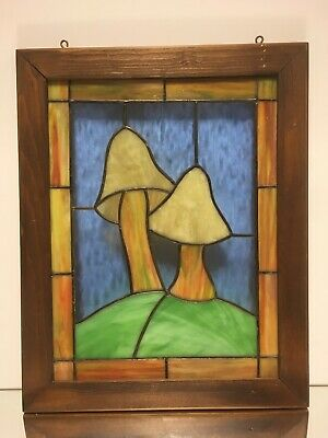 VTG Arts & Crafts Slag Glass Stained Leaded Glass Window Panel Wood Frame