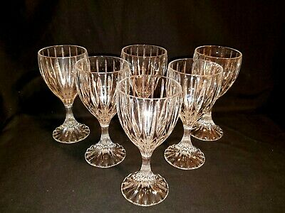 "(2) MIKASA Crystal ""Park Lane"" Water Goblets 6 75"" - MINT"