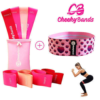 Resistance Booty Loop Bands set of 4 plus Fabric Hip Band Gym Exercise Guide Bag