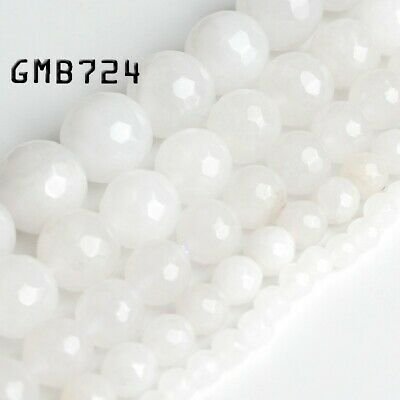Natural Faceted White Crystal Loose Beads lot 4mm 6mm 8mm 10mm 12mm DIY Jewelry