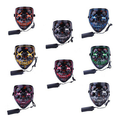 Halloween Scary Mask Cosplay Led Costume Mask EL Wire Light Up Purge Movie AT