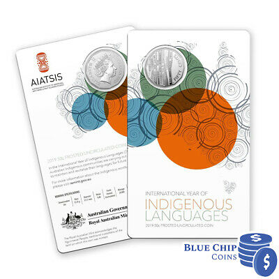 2019 UNC 50c International Year of Indigenous Languages FROSTED Coin on Card