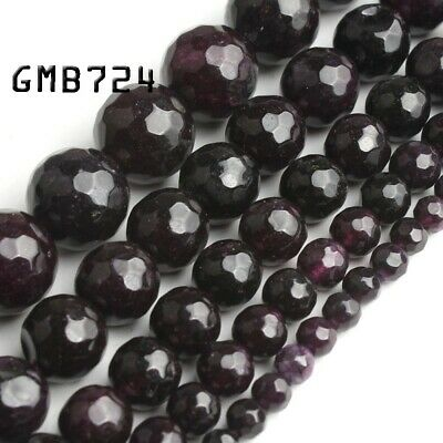 Grade A Natural Amethyst Gemstone Faceted Bead 15''4mm 6mm 8mm 10mm 12mm Jewelry