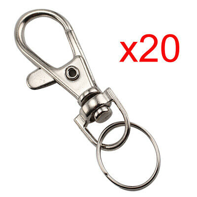 20Pcs Quality Silver Tone Lobster Trigger Swivel Clasps for Keyring Hook Key