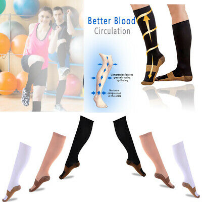 (3 Pairs) Copper Compression Socks 20-30mmHg Graduated Support Mens Womens S-XXL