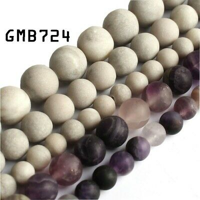 6mm 8mm  Natural Frosted Purple Fluorite Round Spacer Loose Beads DIY Jewelry