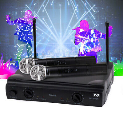 VHF Handheld Wireless Microphone System w/ Dual Mic for Karaoke Party Black