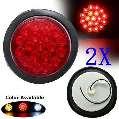 2x 19 LED Truck Trailer Stop Tail Light Round Reflector Turn Brake Lamp Car Boat