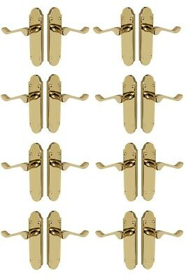 8 Pack of Shaped Scroll Electro Brass door handles 168mm x 42mm SALE