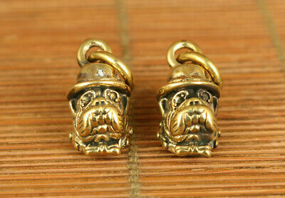 Fortune Rare chinese old bronze hand carving pair dog statue figue netsuke gift