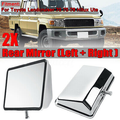 Pair Chrome Door Rear View Side Mirror For Toyota Landcruiser 70 75 78 Hilux Ute