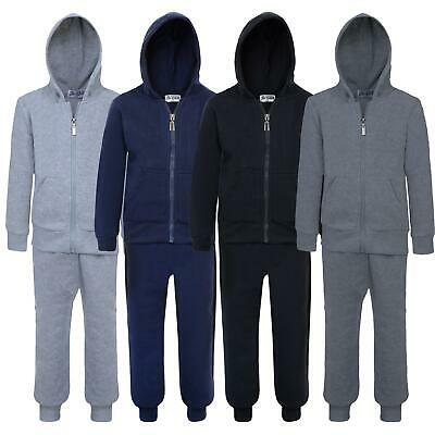 Kids Plain 2-Piece Set Tracksuit Teen Hooded Zip Top Jogging Bottoms 5-16 Years