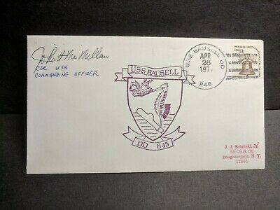 USS BAUSELL DD-845 Naval Cover 1977 SIGNED by CO Cachet