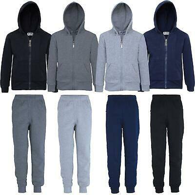 Kids Plain Tracksuit Jumper or Trousers Hooded Zip Top Jogging Bottoms 5-16Y