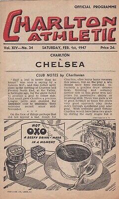 CHARLTON ATHLETIC v CHELSEA ~ 1 FEBRUARY 1947 GOOD CONDITION FOOTBALL PROGRAMME