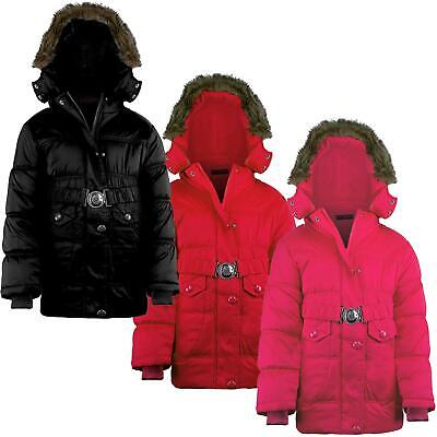Girls Winter Jacket Padded Belted Fleece Lining Detach Hood Quilted 3-14 Years