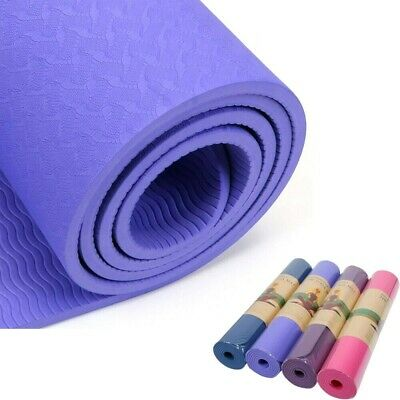 Yoga Mat Non-Slip TPE Eco Friendly 1/4 Inch Exercise Fitness with Carrying Strap