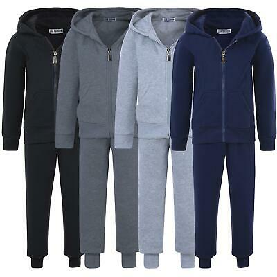Kids Plain Tracksuit Teenagers 2-Piece Set Hooded Zip Top Jogging Bottoms 5-16 Y