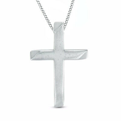 Valentine's Day Cross Pendant in 14K White Gold Over Sterling Silver