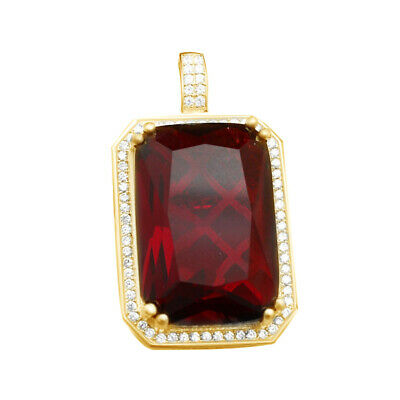 Lab Created Ruby & Cubic Zirconia Cluster Pendant 14k Gold Over Sterling Silver