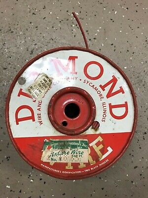 DIAMOND WIRE VINTAGE SPOOL 16 AWG TFF STRANDED COPPER WIRE - 100 ft left on spl