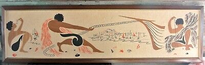 "Ro-Hi Art Print Collage Mid-Century Modern Island Silk Screen & Wood 60"" x 17"""