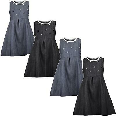 Girls Denim Teenagers Skater Dress Cotton Pearl Piping Zip Details Top 3-14 Y