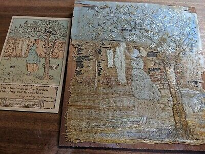 Unusual antique late 19th Century pictorial embroidery of Randolph Caldecott