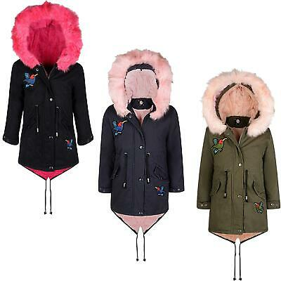 Girls Winter Parka Coat Hood Padded Jacket Kids Bird Applique Fur Lining 7-16 Y