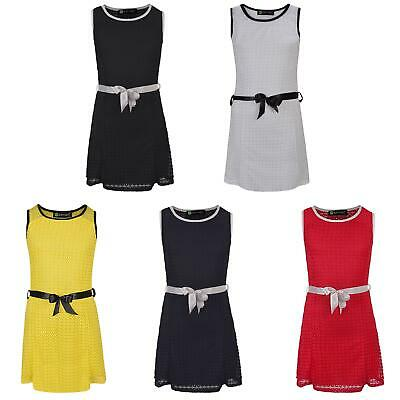 Girls Belted Lace Texture Summer Sleeveless Dress Casual Party Top 3-14 Years