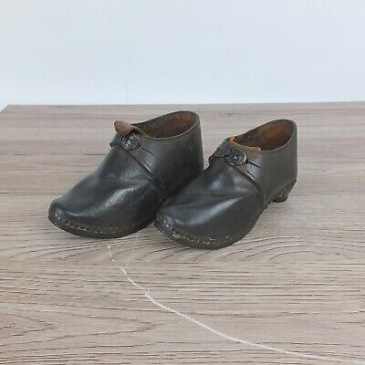 Beautiful Pair Of Antique Childrens Clogs- Black- Probably Victorian