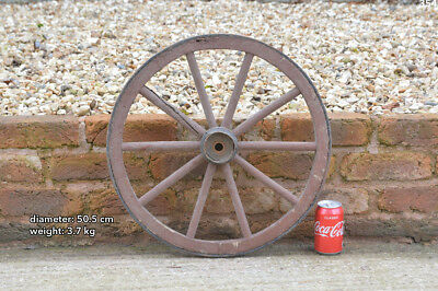 Vintage old wooden cart wagon wheel  / 50.5 cm / 3.7 kg - FREE DELIVERY