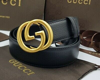 Gucci signature belt with golden tone buckle