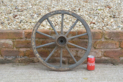 Vintage old wooden cart wagon wheel  / 50.5 cm - FREE DELIVERY