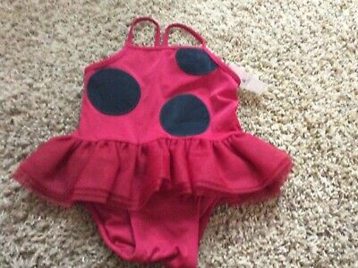 NWT Baby Gap Girls Ladybug 1 Piece Swimsuit 12-18 Mo Tulle Red Black