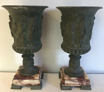Pair of Antique Spelter Neoclassical Mantle Garniture Urns with Marble Bases