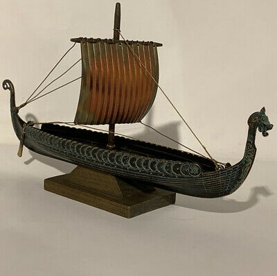 Edward Aagaard. Rare MINT Vintage Bronze Viking Dragon ship in ORIGINAL BOX.