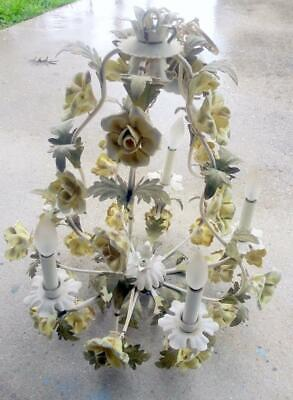 Vintage Tole Painted Italian Wrought Iron Chandelier Yellow Porcelain Flowers