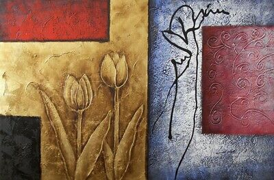 Abstract Tulips Flowers Gold Red Blue Oil On Canvas Painting 24X36 STRETCHED