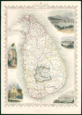"1850 Original Illustrated Antique Map ""CEYLON"" by TALLIS - FULL COLOUR (TC6)"