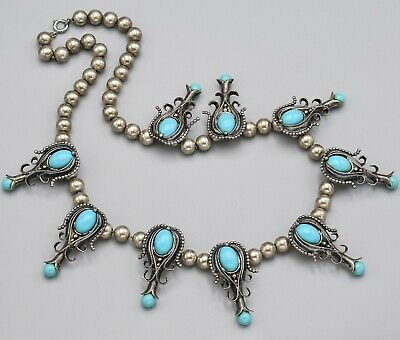 Vintage Sterling Silver Southwestern Turquoise Necklace 115.4 Grams