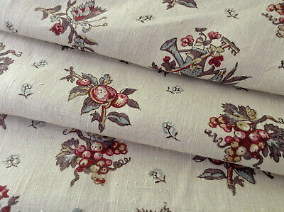Vintage French Block Printed Linen fabric Flowers buckets butterflies 1920's