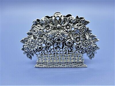 Pretty Solid Silver Napkin Holder shaped as a flower basket marked 800