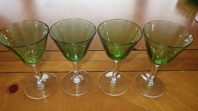 Green Cordial Liqueur glasses Stems Optic panel green bowl clear stem 4 4oz