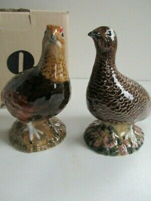 Pair Red Grouse Salt & Pepper Pots By Quail Pottery Boxed.