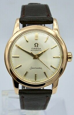 Vintage 18K Rose Gold Omega Seamaster Watch Automatic Men's Cal. 352 1950's