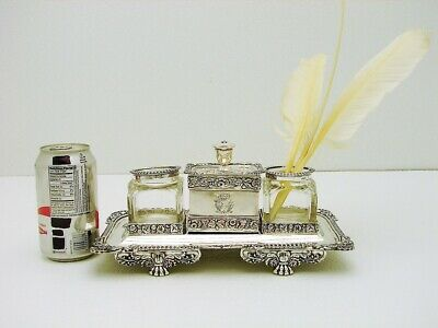 English Sterling Silver & Glass Inkwell Desk Set Armorial Crest Marked IW c1819