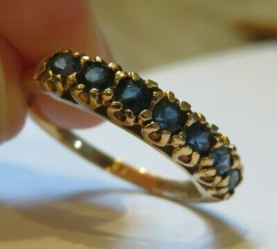 14K Antique Vintage Art Deco Old Cut Sapphire Eternity Band Wedding Stack Ring
