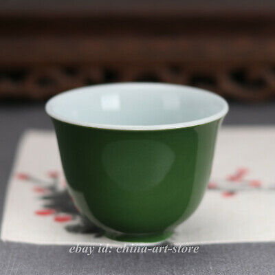 85MM Collect Chinese Porcelain Green Glaze Pretty Gongfu Teacup Wine Cup 大明宣德年制
