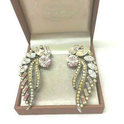 Vintage Jewellery Stunning Statement Rhinestone Leaf Clip On Earrings